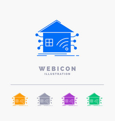automation home house smart network 5 color glyph vector image