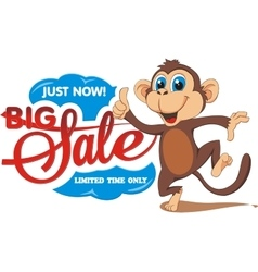 Big sale The monkey and the text on a transparent vector image