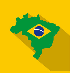 brazil flag on brazilian map icon flat style vector image
