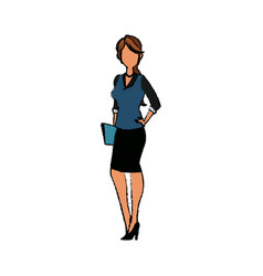 business woman character standing people holding vector image