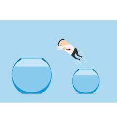 Businessman jumping out from one fish bowl to vector