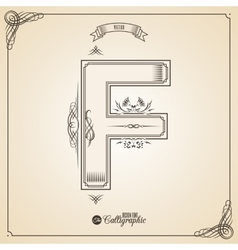 Calligraphic Fotn with Border Frame Elements and vector image