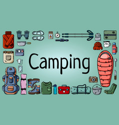 camping banner with set of tourist items vector image