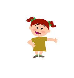 Cartoon character girl showing vector