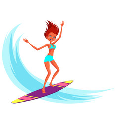 cartoon cheerful young woman in swimsuit riding on vector image