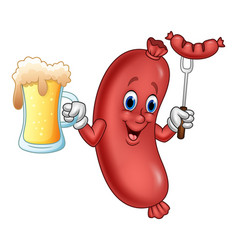 Cartoon sausage holding beer and sausage on fork vector