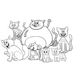 cats and kittens group cartoon coloring book page vector image