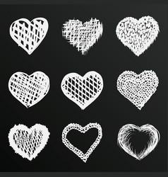 chalkboard sketch hand drawn hearts set vector image