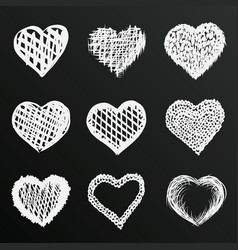 Chalkboard sketch of hand drawn hearts set vector