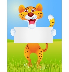 chetah with blank sign vector image vector image