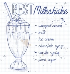 Chocolate milkshake recipe on a notebook page vector