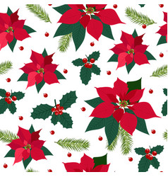 christmas seamless pattern with poinsettia plant vector image