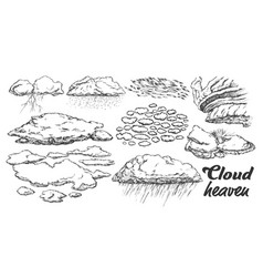 clouds in different weather set monochrome vector image