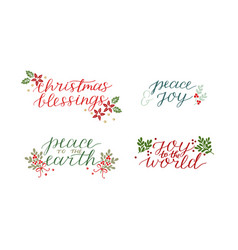 collection with 4 holiday cards made hand vector image