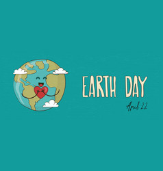 cute earth day planet with love heart banner vector image