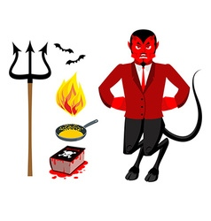 Devil and accessories Satanic set Trident and vector