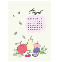 doodle calendar for the month of august 2018 vector image