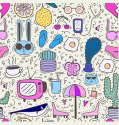 Doodle cartoon seamless pattern background vector