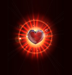 Dynamic light rays heart vector