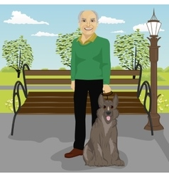 Elderly man and his dog in park in summer vector