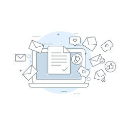 email marketing icon - laptop and flying vector image
