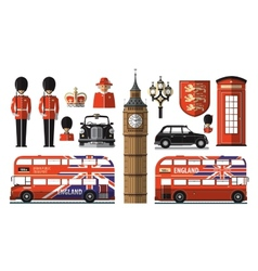 England london uk set icons vector