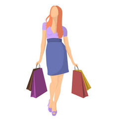 Figure of a girl with shopping isolated vector