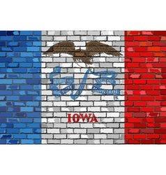 Flag of Iowa on a brick wall vector
