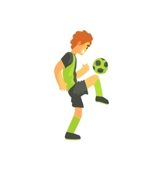 Football Player With Ball On The Knee Isolated vector image