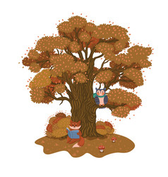 fox is reading a book under a tree autumn vector image