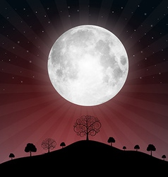 Full Moon with Stars and Trees vector image