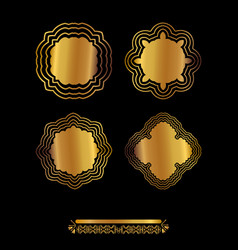 Gold mandala on black background vector