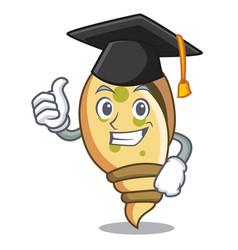 Graduation sea shell character cartoon vector