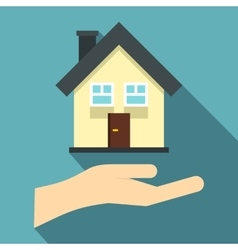 Hand holding house icon flat style vector image