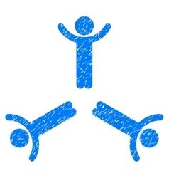 Hands Up Men Grainy Texture Icon vector image