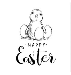 happy easter holiday sketch chicken and eggs vector image