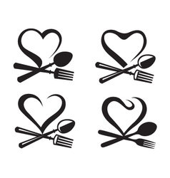 Icons with spoon fork and heart vector