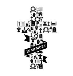 In Memory Concept - Funeral Cross Icon with Text vector image