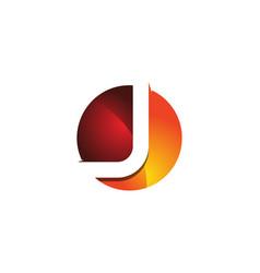 J 3d colorful circle letter logo icon design vector