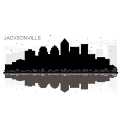jacksonville florida city skyline black and white vector image