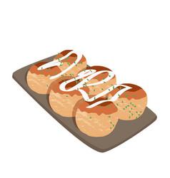Japanese food takoyaki asian dish vector