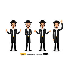 Jew emotions character isolated on vector