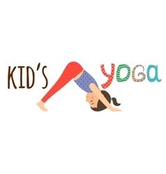 Kids yoga logo design with girl vector image