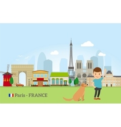 Little boy with dog in Paris vector