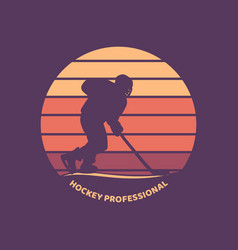 logo design hockey professional with silhouette vector image