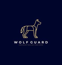 Logo wolf guard line art style vector
