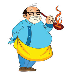 Male cook holding a hot pan vector