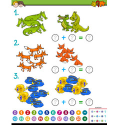 Maths addition educational game workbook vector