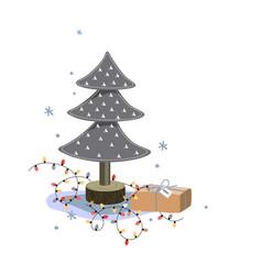 miniature felt fir tree christmas gift box and vector image