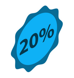 minus 20 percent sale icon isometric style vector image